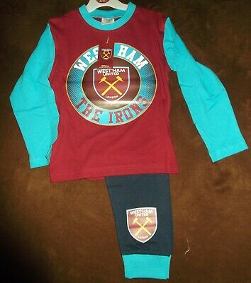 New Boys West Ham United Fc  Hammers Football Club Long  Pyjamas Pjs Age 5 6