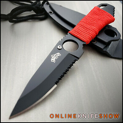 """7"""" FULL TANG SURVIVAL BOOT KNIFE w/ NECK SHEATH Hunting Camping Skinning Combat"""