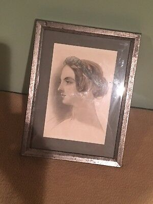Antique Hand Colored Engraved Picture / Woman / Greek Goddess / Lovely / 1870