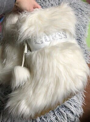 New Guess Girls White Cream Faux Fur Snow Boots Size Uk 13 Kids