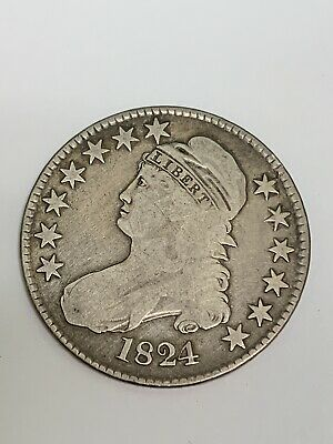 1824/1 Capped Bust Letter Edge Silver Half Dollar