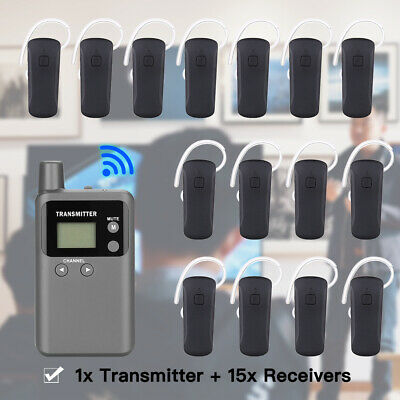 Wireless Audio Translation System 48CH Transmitter + 15pcs Earhook Receiver