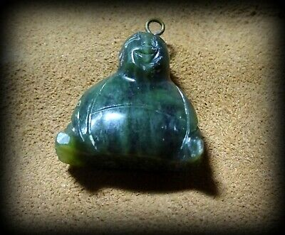 Vintage Spinach Jade or Soapstone Hand Carved Laughing Buddha Etched Pendant