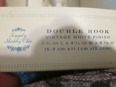 Shabby Chic Double Hook White Finish New In Box