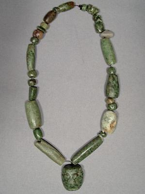 Ancient Pre-Columbian Mayan Maya Green Stone Necklace With Mask Pendant