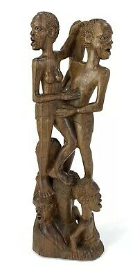 "19"" Tall Plight Of Africa Wood Carving With Mthambothi Wood African Cultural Art"