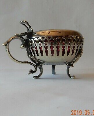 Antique  Mustard Pot Cranberry Glass and Sterling Spoon 6 gms