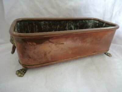Vintage copper planter brass lion head ends brass rings claw feet 23 cm long