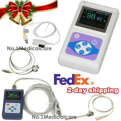 Handheld Finger Spo2 Pulse Oximeter, Adult Infant Neonatal VET Probe, SW, Fedex