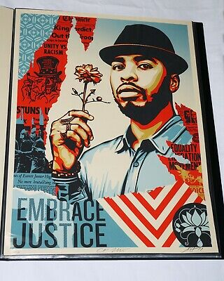 2017 Shepard Fairey EMBRACE JUSTICE 18X24 Obey Giant Art Print Signed/#475
