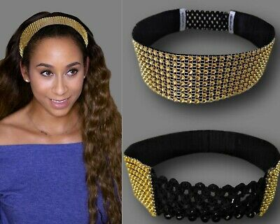 Handmade Jewel Headband Gold Bling Mesh Rhinestones Hair Accessories 1.5""