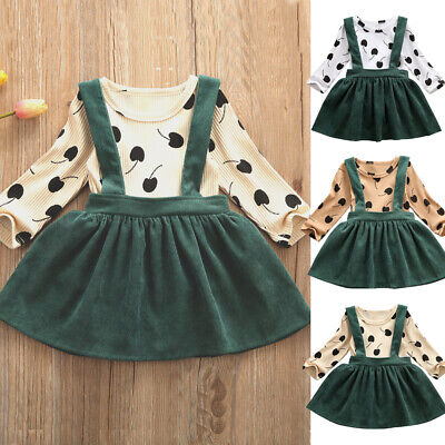Boutique Kids Baby Girl Ruffle Top Suspender Tutu Skirt Dress Outfit Clothes Set