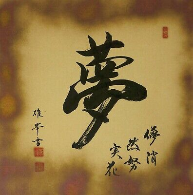 JAPANESE PAINTING HANGING SCROLL JAPAN Chinese character Dream VINTAGE ART 172m
