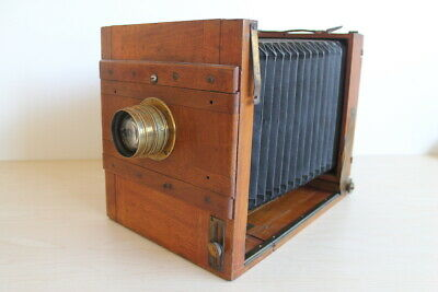 Old Antique  Wood & Brass Plate Camera 5x7