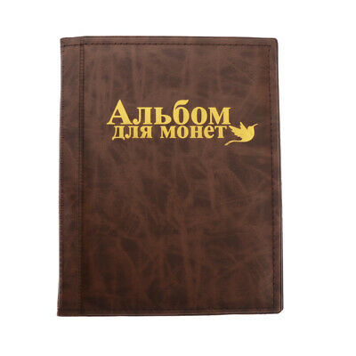 250 Coin Collecting Holders Penny Pockets Storage Folder Brown Album Book