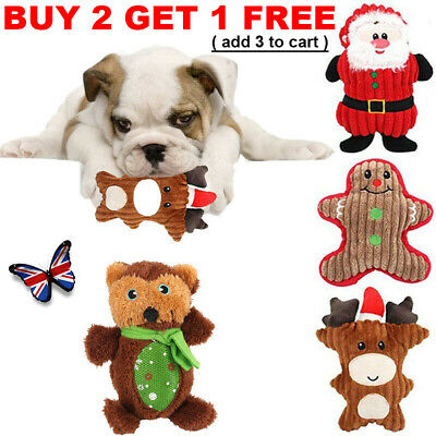 Christmas Dog Chew Toys Aggressive Indestructible Stuffed Squeaky Sound Squeaker