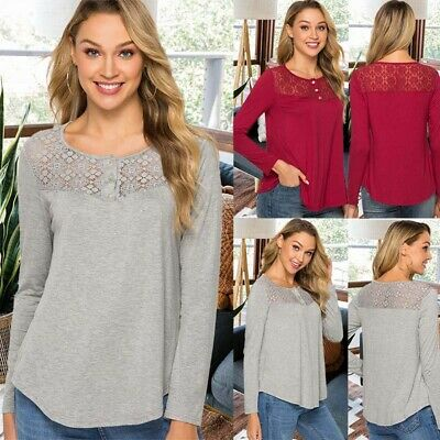 Fashion Summer Lady Lace Womens Long Sleeve T-shirt Casual Top Blouse WL