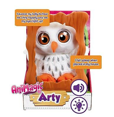 Animagic 31349.4300 Goes Wild Arty Owl and Tree, Soft Plush, with Sounds and Lig