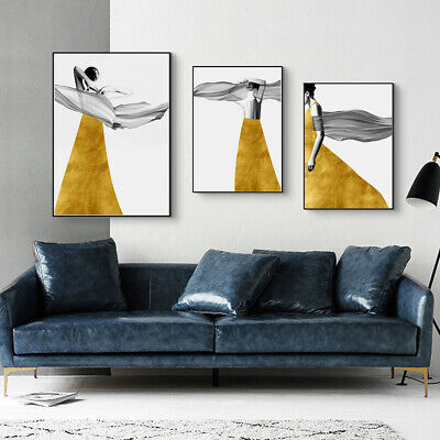Yellow Skirt Girl Modern Canvas Poster Unframed Picture Wall Painting Art Decor