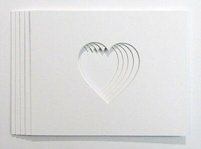 "Packs of 8""x6"" Heart 4x4 shaped Photo and Picture Mounts"