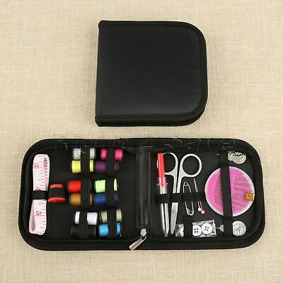Portable Outdoor Travel Home Sewing Kit Thread Scissors Needles + Square Case