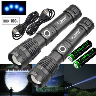 900000Lumens xhp50 5Modes LED 18650 Zoomable USB Rechargeable Flashlight Torch