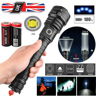 Powerful 250000LM xhp90 LED USB Rechargeable Ultra Bright Zoom Flashlight Torch
