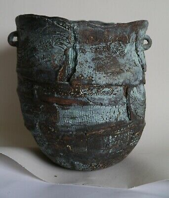 Rare Large Peter Hayes studio pottery vessel hand built highly textured surface