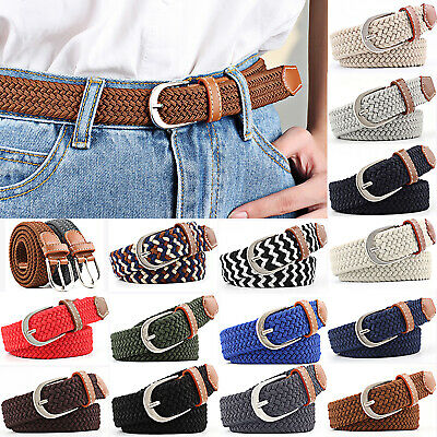 Women's Stretch Braided Elastic Woven Canvas Buckle Belt Waistband Waist Straps