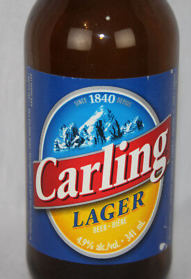 Carling Lager Vtg Beer Bottle Glass Brewing Brown Canada Molson With Cap
