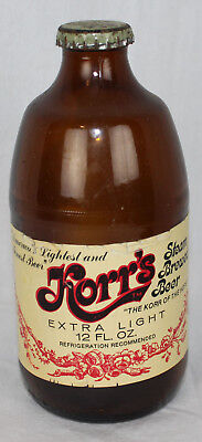 Korr's Extra Light Beer Vtg Bottle Glass Steam Brewed Geyer Frankenmuth MI Cap