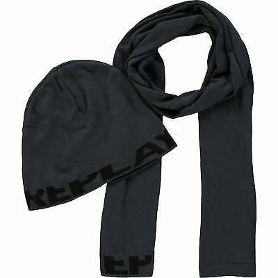 REPLAY Grey & Black Scarf & Hat Set