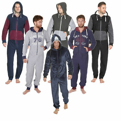 1Onesie Mens Boys Onezee Casual Soft Fleece Hooded All in One Pyjamas Pjs