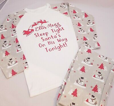 Personalised Pjs Pyjamas Christmas Xmas ANY TEXT Childrens 6-12mths to 9-10 yrS