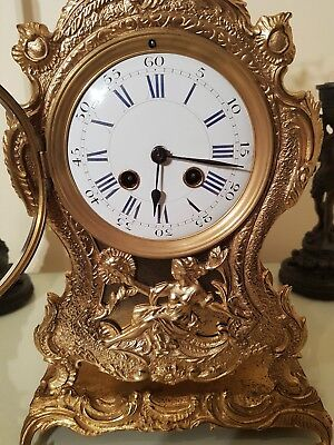 Antique French Boulle Style Gilt Brass Mantel Clock & Base.