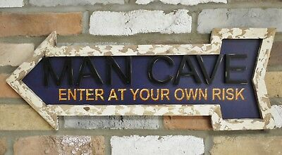 """Large Wood Arrow Sign """"Man Cave"""" Wall Hanging Rustic Vintage Style Home Gift"""