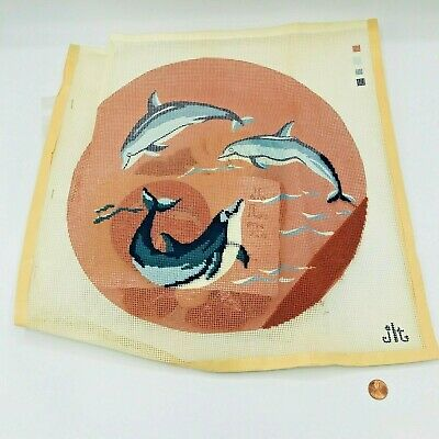 Hand Painted Needlepoint Pattern Dolphins Swimming Yarn JLT California