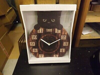 Black Cat, Kitten Wall Clock - Wagging Tail as a Pendulum