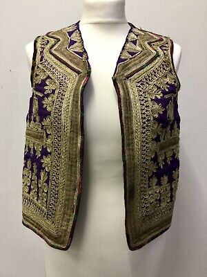 Antique Indian Afghan waistcoat Purple Gold braid embroidery Tribal Hippy Ethnic