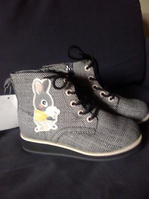 Bnwt Girls Grey Tweed Look Bunny Rabbit Boots By H&M Size 1.5 (34)