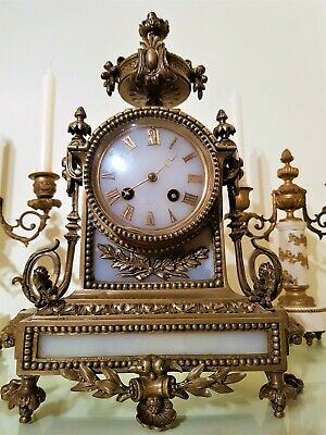 Antique French Ormolu and White Stone Mantel Clock.