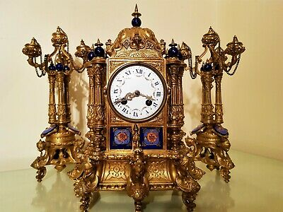 Antique French Ormolu & Porcelain Mantel Clock Garniture.