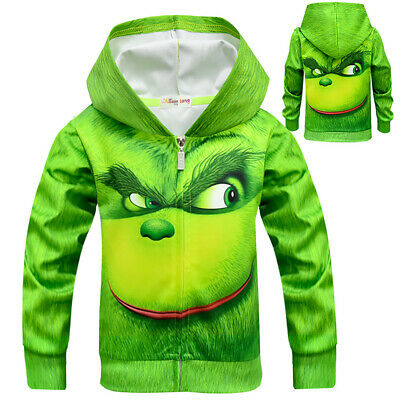 Kids Boys Girls The Grinch Hoodie Sweatshirt Coat Christmas Cosplay Fancy Dress