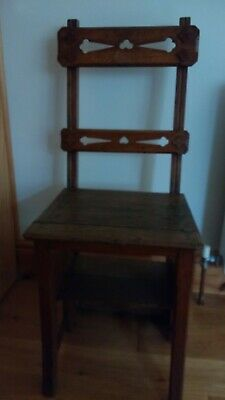 Oak Metamorphic Library steps / Chair CIRCA 1890?? Arts and Crafts??