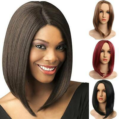 New Womens Ladies Real Short Straight Wigs Natural Black Bob Hair Cosplay Wig UK