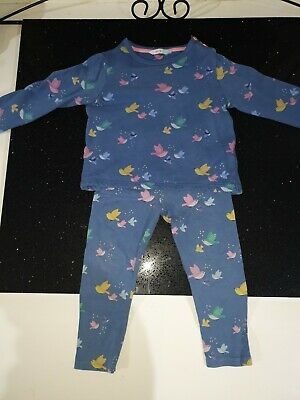 John Lewis Girls Cobalt Blue with birds 100%cotton Outfit 2-3years