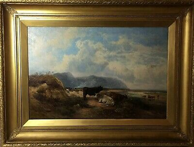Fine Large 19th C Oil Painting Cattle Resting Monogrammed & Dated 1864, Antique