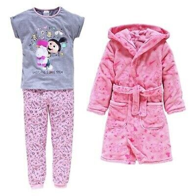 Despicable Me 3 Girls Pyjamas and Robe 3 Piece Nightwear Set Age 9-10 Years