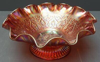 "vtg Fenton Art Glass Red Opalescent Hearts & Flowers 10.5"" Ruffled Bowl"