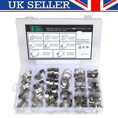 80PCS Assorted Hose Clamp Set Stainless Steel Jubilee Hose Clips Set No Driver